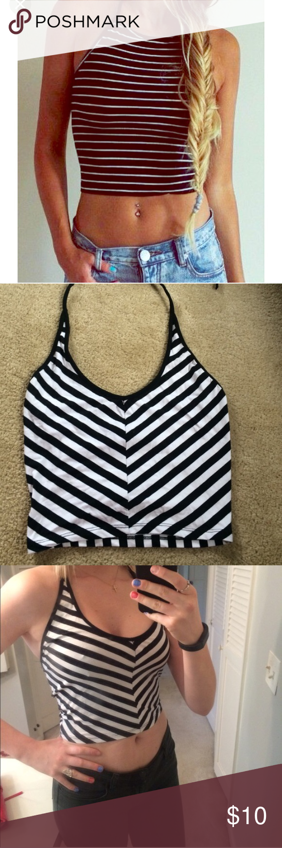 Halter crop top FIRST PICTURE isn't mine- all others are. Open back! Wear this with a halter black bralette and you're set! Great condition. Ambiance Apparel Tops Crop Tops