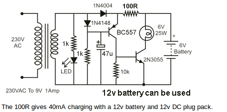 led emergency light circuit with battery overcharge