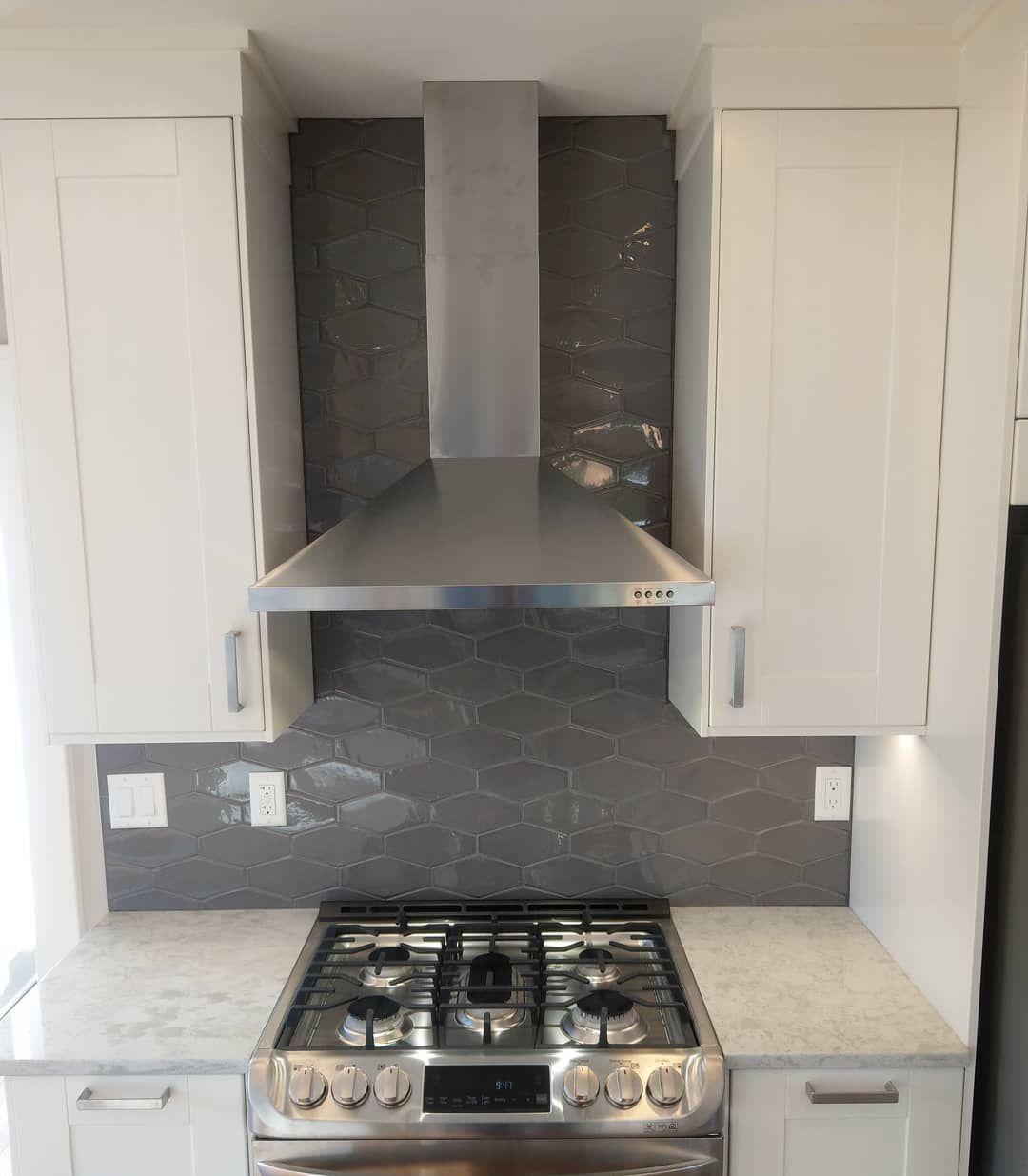 - Honey Comb Tile Backsplash, Ikea Shaker Style Cabinets, Quartz