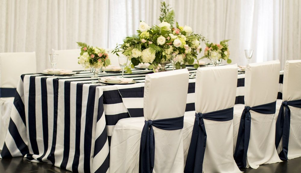 Navy And White Stripe Linen, White Foam Square Back Chair Covers, Navy Chair  Sashes