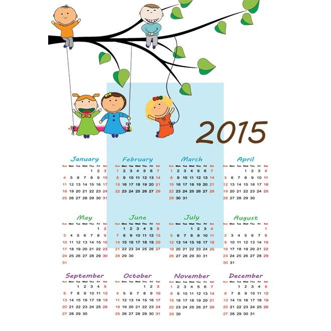 Kids Playing With Tree Blue Background Vector 2015 Calendar Free