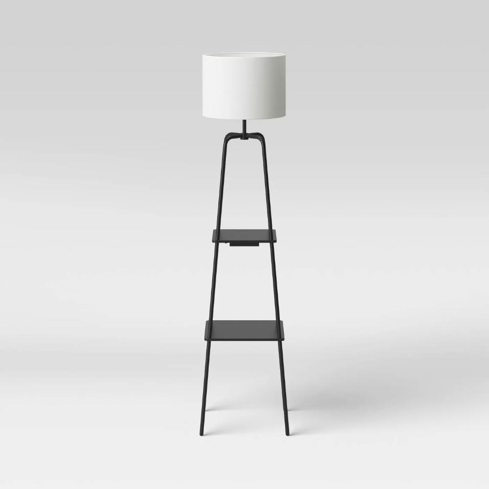 Etagere Power Source Shelf Floor Lamp Black Threshold