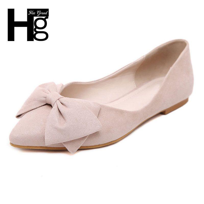 Hee grand plus size 34-43 vrouwen ballet flats mode wees teen met Grote Bowtie Knoop Vintage Flock Platte Schoenen Vrouw XWD4140