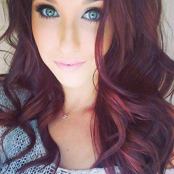 Burgandy Really Sets Off Blue Eyes Hair Color Burgundy Burgundy Hair Hair Styles