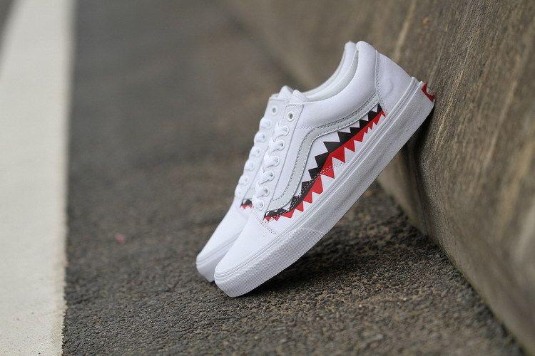 CH Available 2018 Vans x Bape 17SS Black Shark Mouths Tooth Old Skool High Cut 36 44