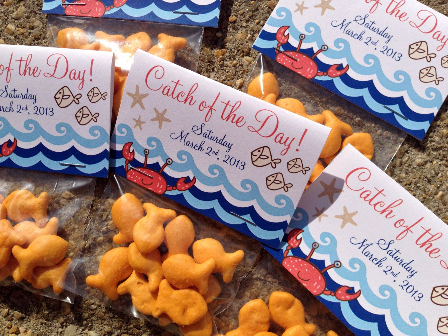 Downloadable digital file custom nautical by thecreativesideshow custom nautical themed catch of the day gift card favor tag goldfish bag baggie personalized baby shower pool party kids birthday negle Images