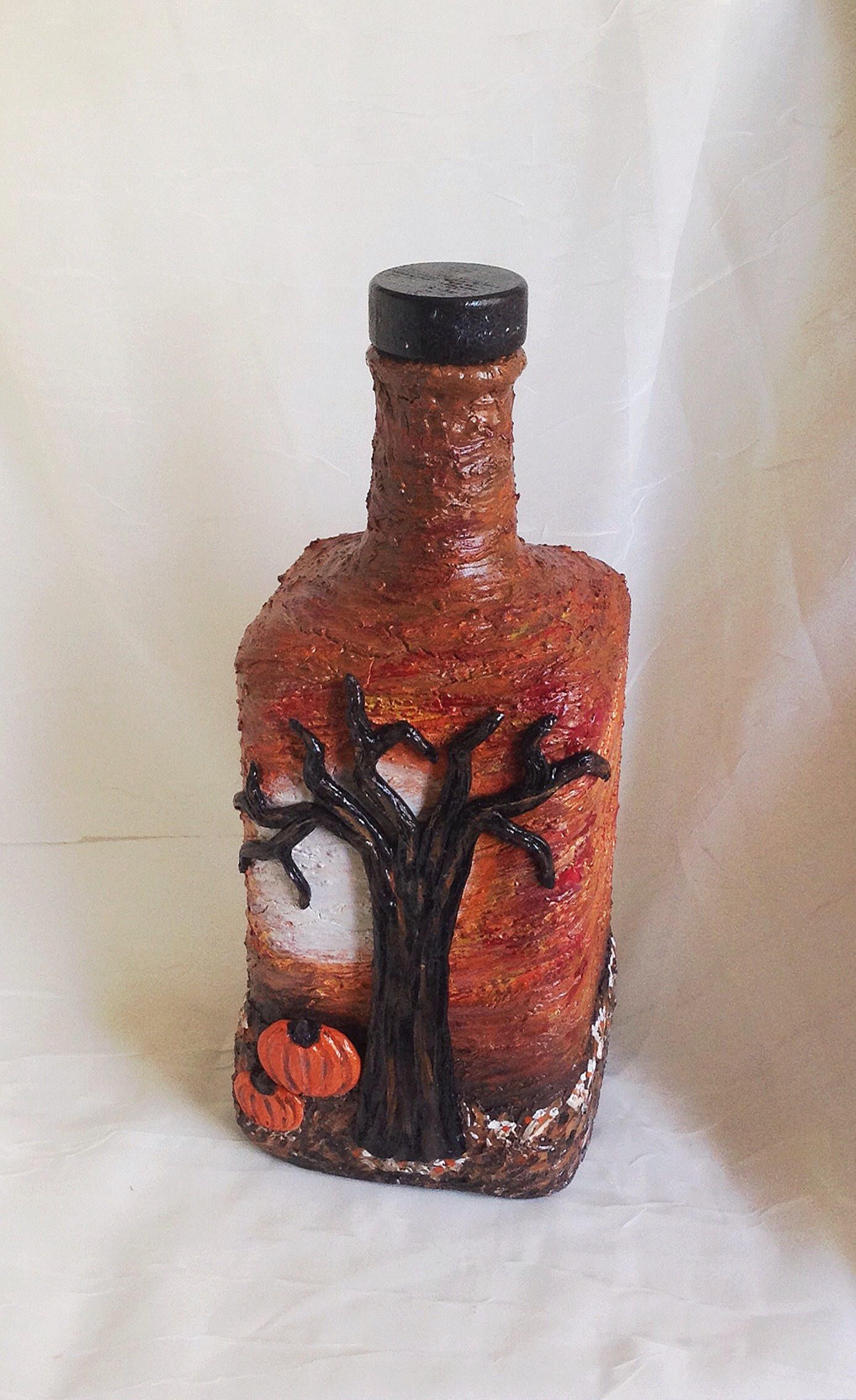 Recycled Fall Halloween Altered Bottle Autumn Artfall Etsy In 2020 Altered Bottles Bottle Bottle Art