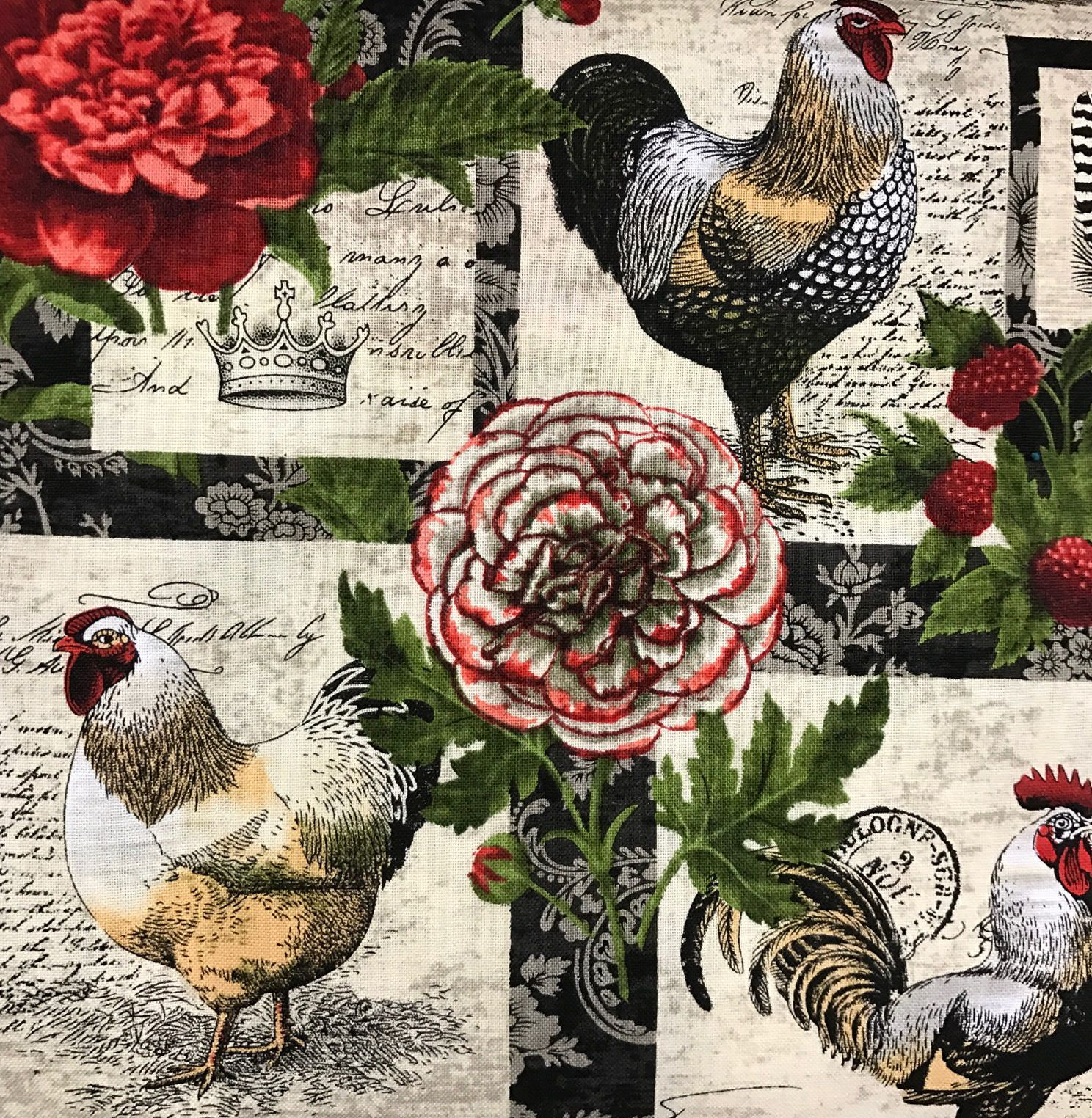 French Hens Chicken Fabric French Country Fabric Rooster Quilt