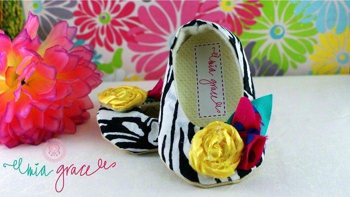 Baby girl shoes - Zoe - handmade soft fabric