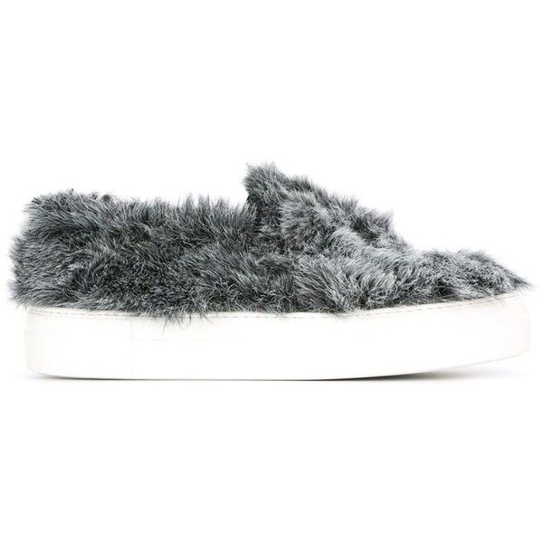 Joshua Sanders Furred Slip on Slippers (6,125 MXN) ❤ liked on Polyvore featuring shoes, slippers and grey