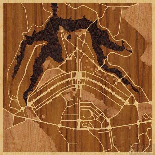 """24""""x24"""" Woodcut Map of Brasilia - RIP Oscar Ribeiro de Almeida Niemeyer Soares Filho"""