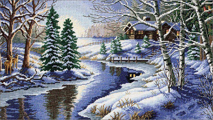 Зимний пейзаж в вышивке 21