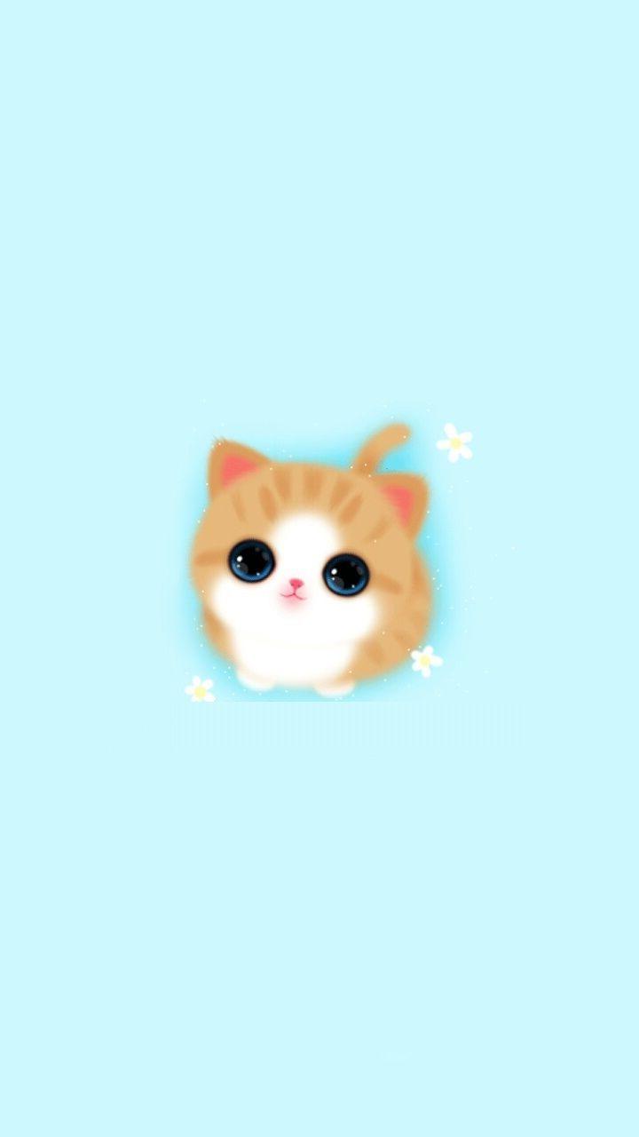 Cute Girly Iphone Wallpaper Cat Baby Blue ...