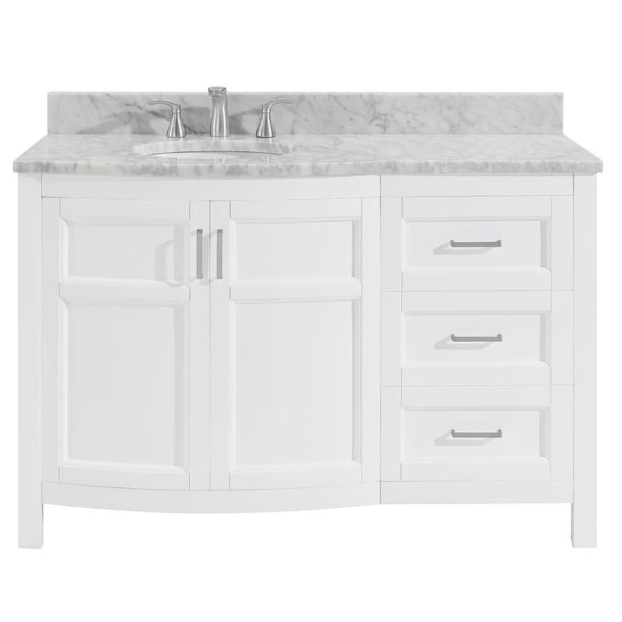 Allen Roth Moravia White Single Sink Vanity With Natural Italian Carrara Natural Mar Single Sink Bathroom Vanity Bathroom Sink Vanity Bathroom Vanity Remodel