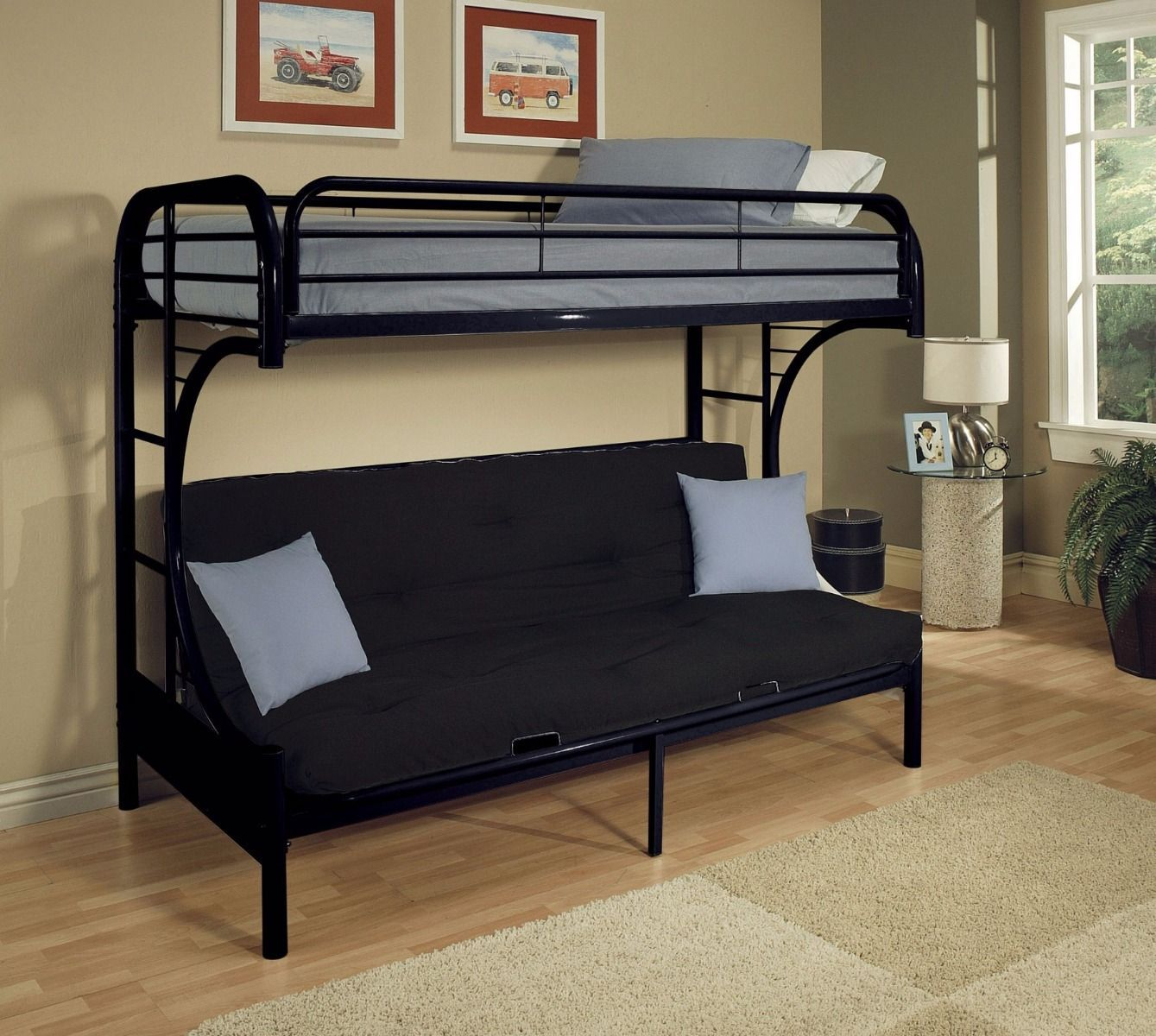 Cabot Extra Long Twin Over Queen Futon Bunk Bed Black Metal Bunk Beds Futon Bunk Bed Futon Bed