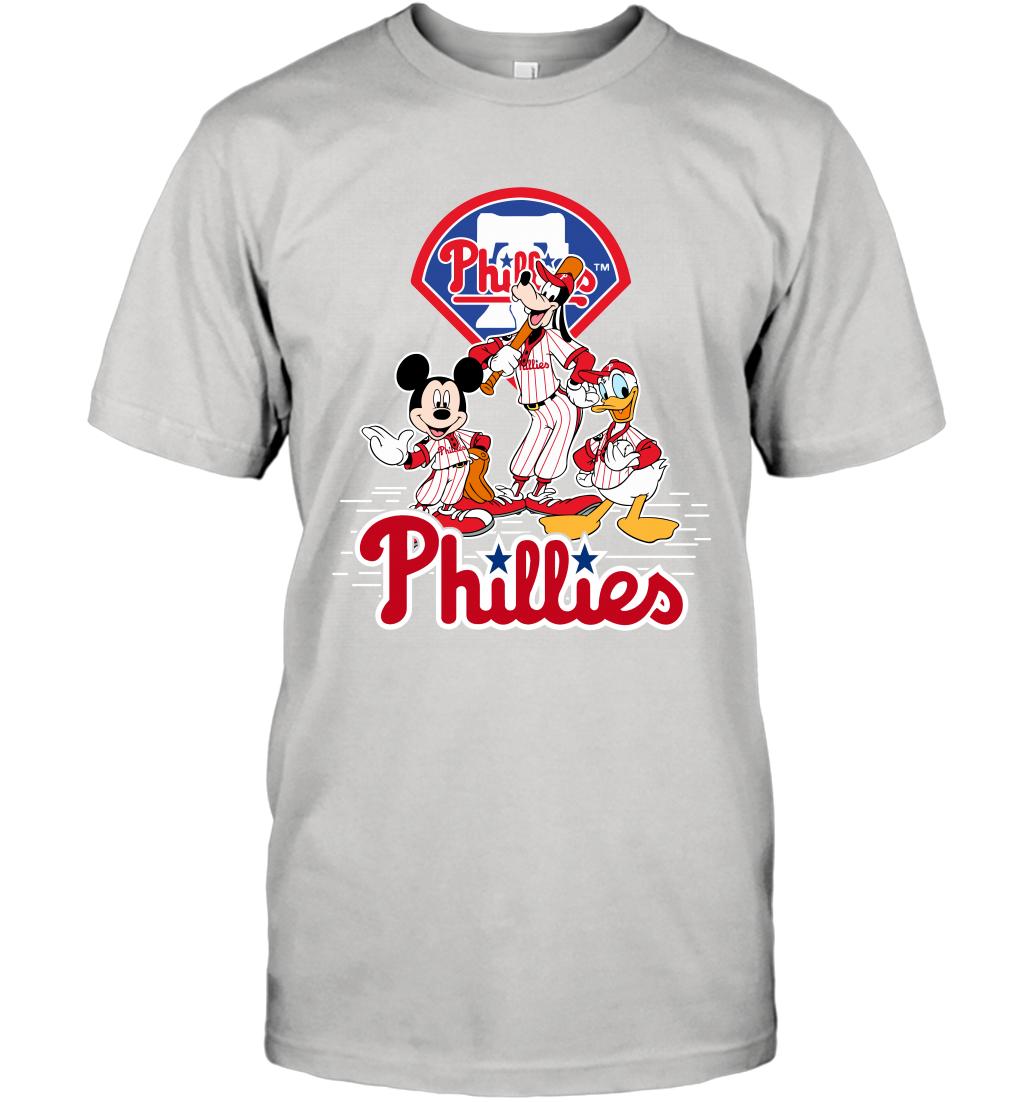 Mlb Philadelphia Phillies Mickey Mouse Donald Duck Goofy Baseball T Shirts Mickey Mouse Donald Duck Phillies Baseball Tshirts