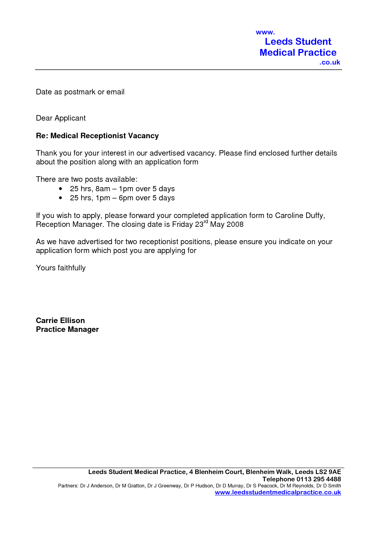 sle cover letter for receptionist with no experience