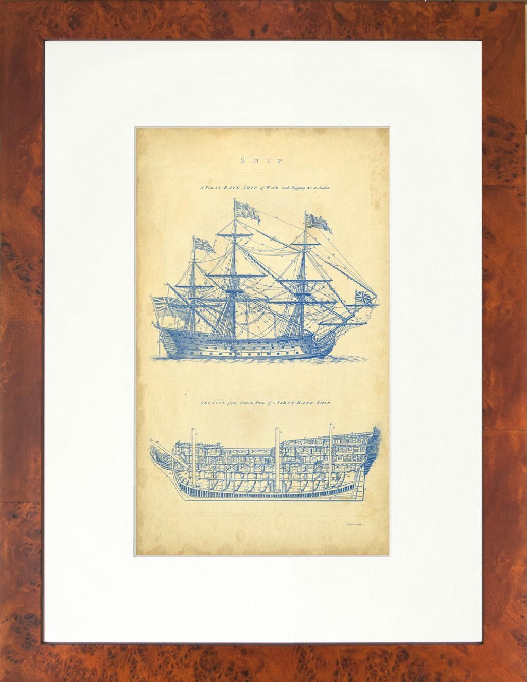 Seaside living vintage ship blueprint framed graphic art wayfair