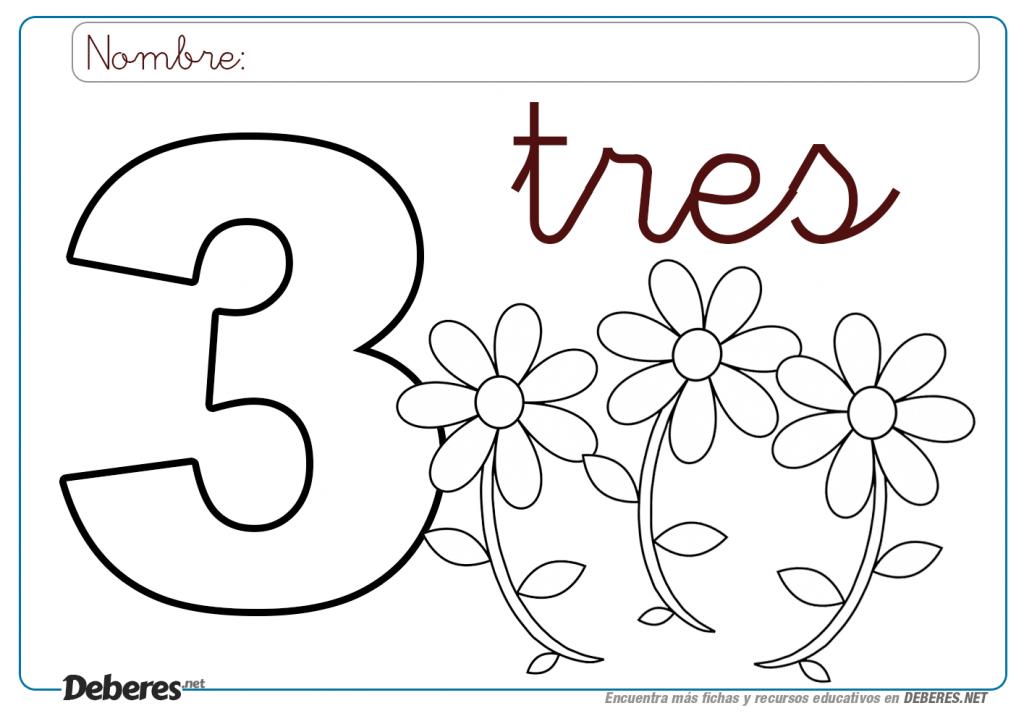 Ficha Del Número 3 Tres Para Colorear (e Imprimir