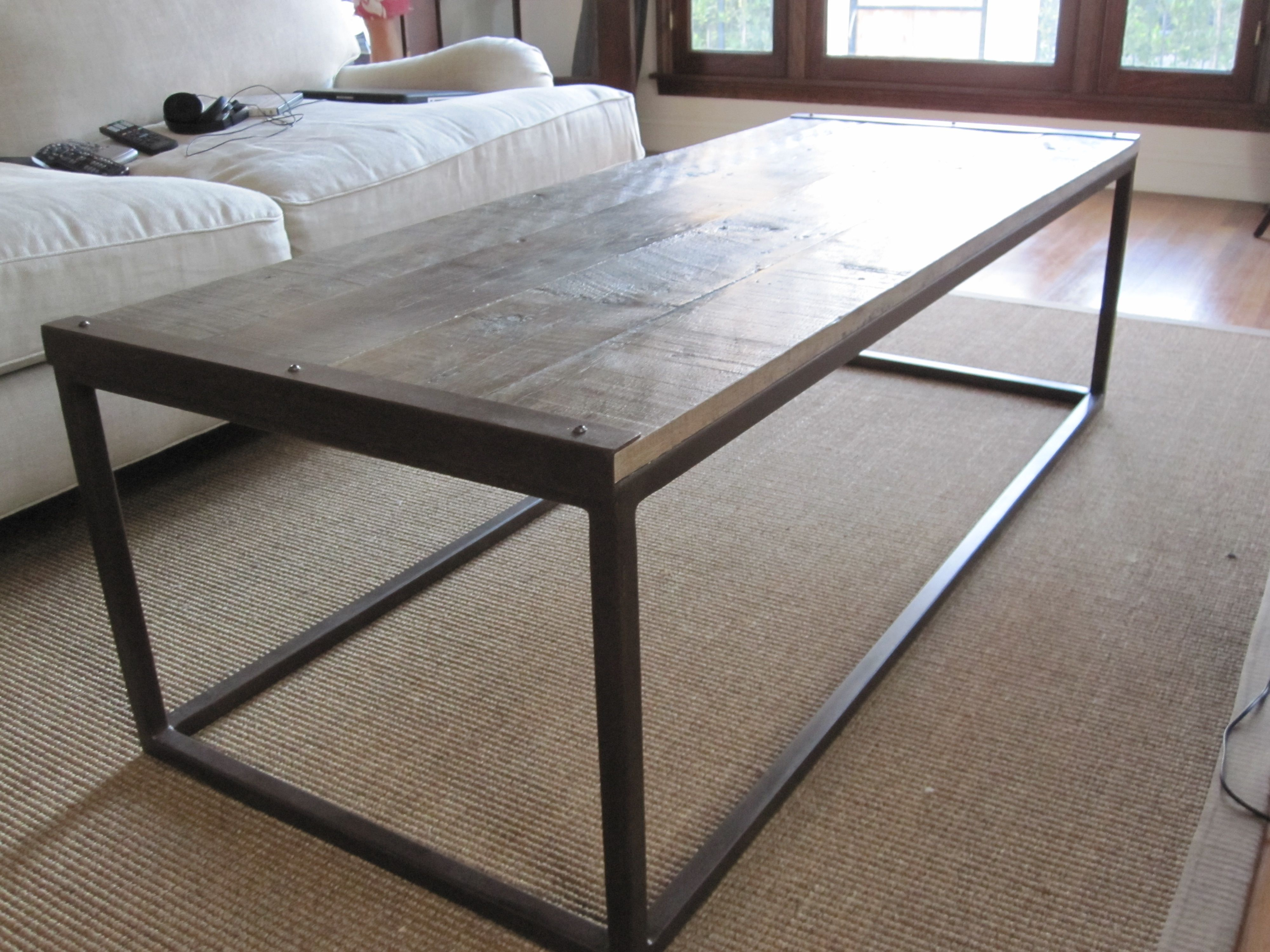 Coffee Table Industrial Industrial Style Square Tube Coffee Table Acid Patina Treatment