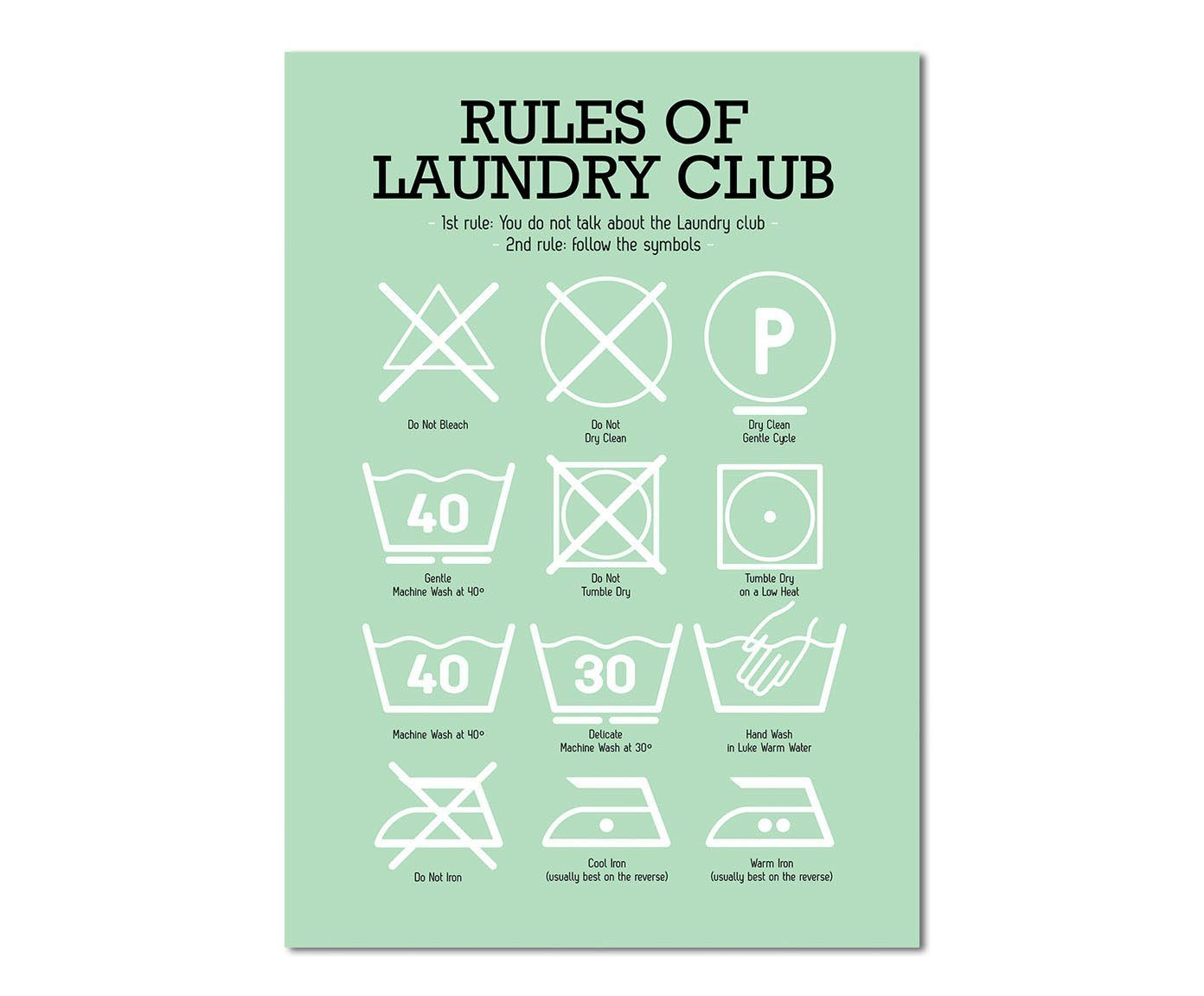 Laundry Symbols Poster Poster Laundry Club Grün 42 X 60 Cm  Westwing Home & Living