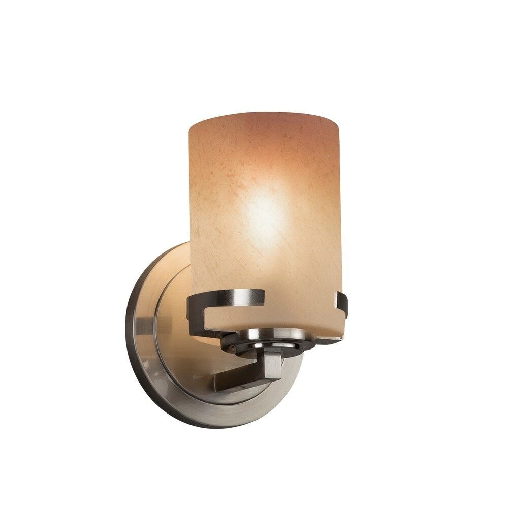 Photo of Justice Design Group Fusion Atlas 1-light wall lamp made of brushed nickel, caramel cylinder – flat rim – silver