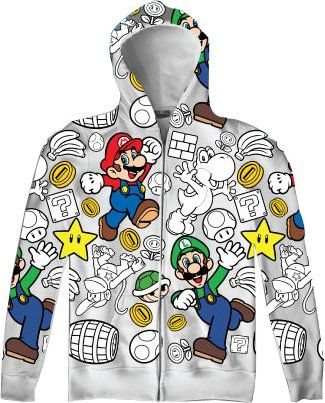 Nintendo Super Mario Luigi Allover Mens Zip Up Adult Hooded