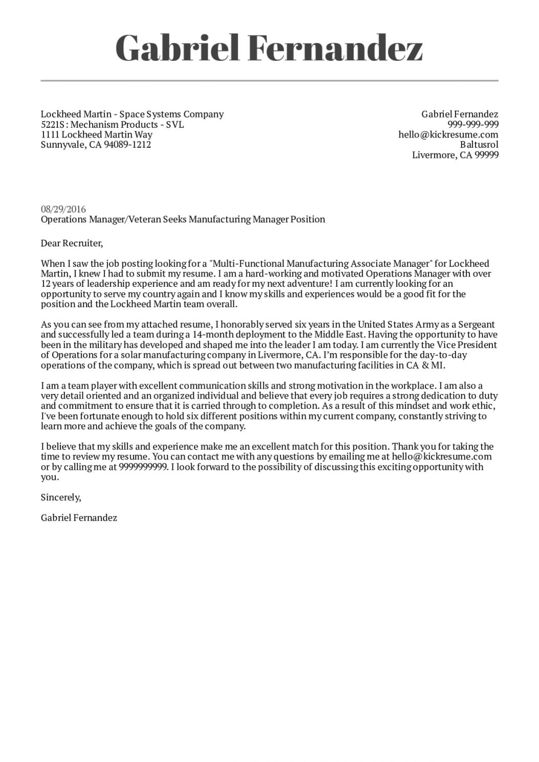 Get Our Sample of Veteran Cover Letter Template for Free