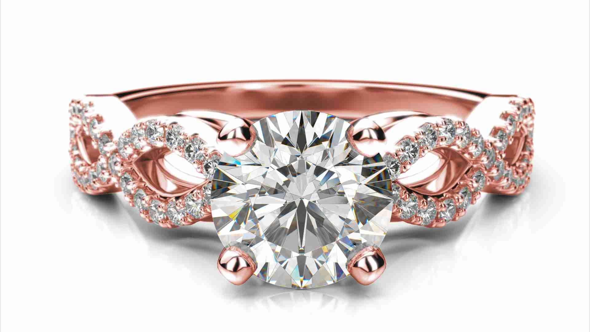 52a1159e1 Zlatý zásnubný prsteň TALA z ružového zlata 14 karátové briliant okrúhly  solitaire s postrannými diamantmi