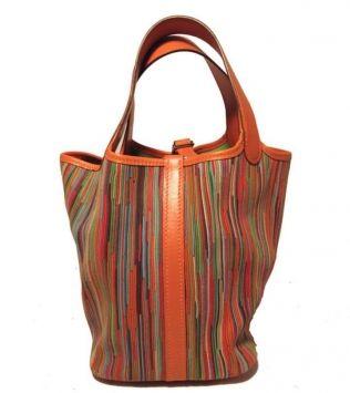 Hermes Orange & Green Vibrato Picotin Pm Hang Bag - Satchel $2,895