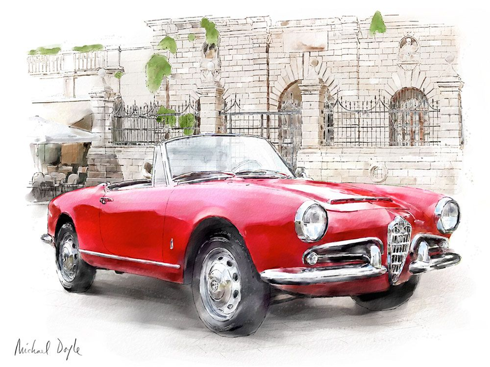 Alfa Romeo Giulia Spider | Dessins de voitures. Car drawing. | Pinterest