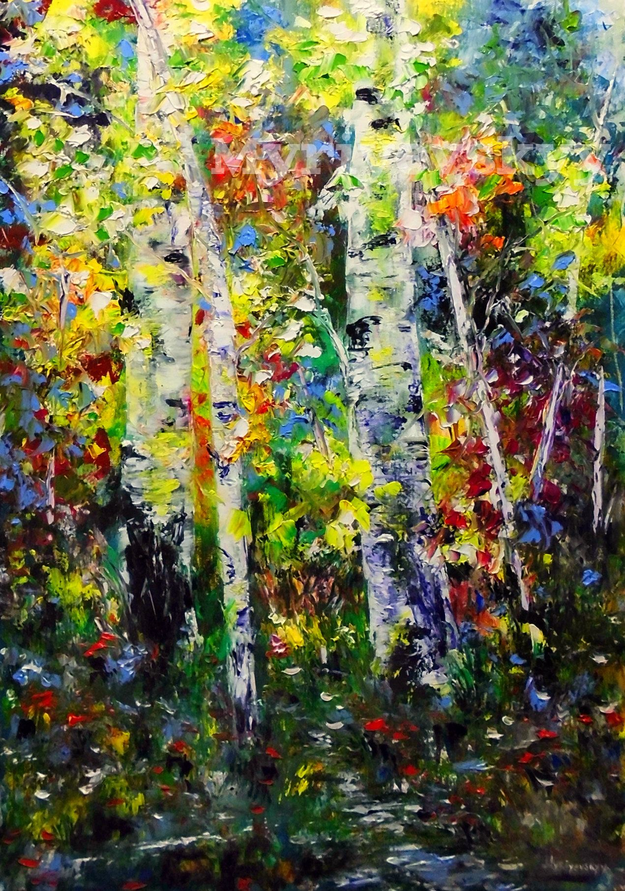 Original Birch Forest Textured Tree Palette Knife Landscape Painting Oil On Canvas Modern Art By Volodymyr My Oil Painting Landscape Flower Wall Art Painting