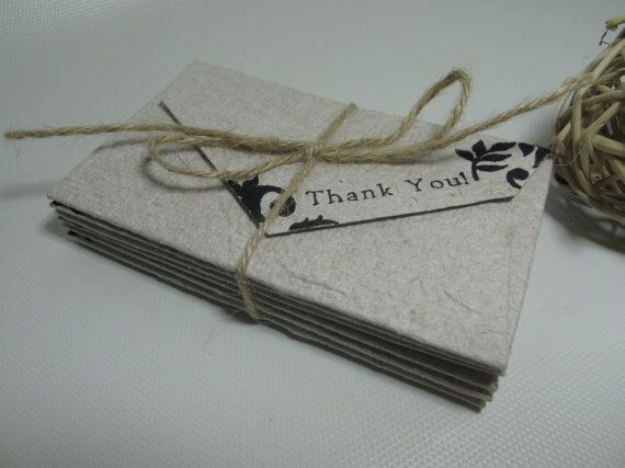 6 mini thank you envelopes with blank cards/ by RusticandSimple