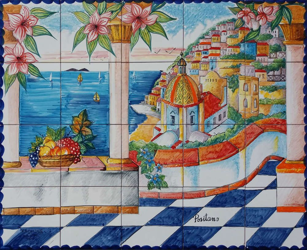 Summer in positano backsplash mural tiles den ideas pinterest