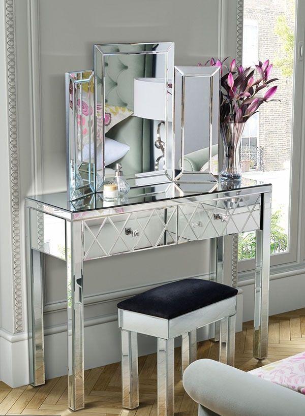 Venetian Mirrored Dressing Table Triple Folding Dressing Mirror U0026 Stool Set