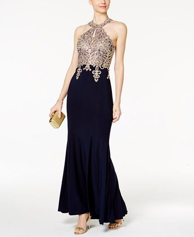 Xscape Embroidered Mesh Halter Gown | Elegance Defined | Pinterest