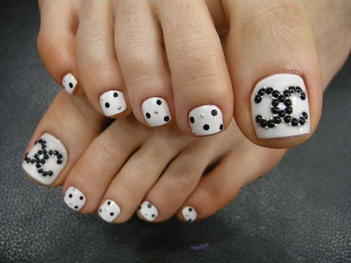 Toe Nail Chanel Design Perfect Pedicures Pinterest Easy Toe