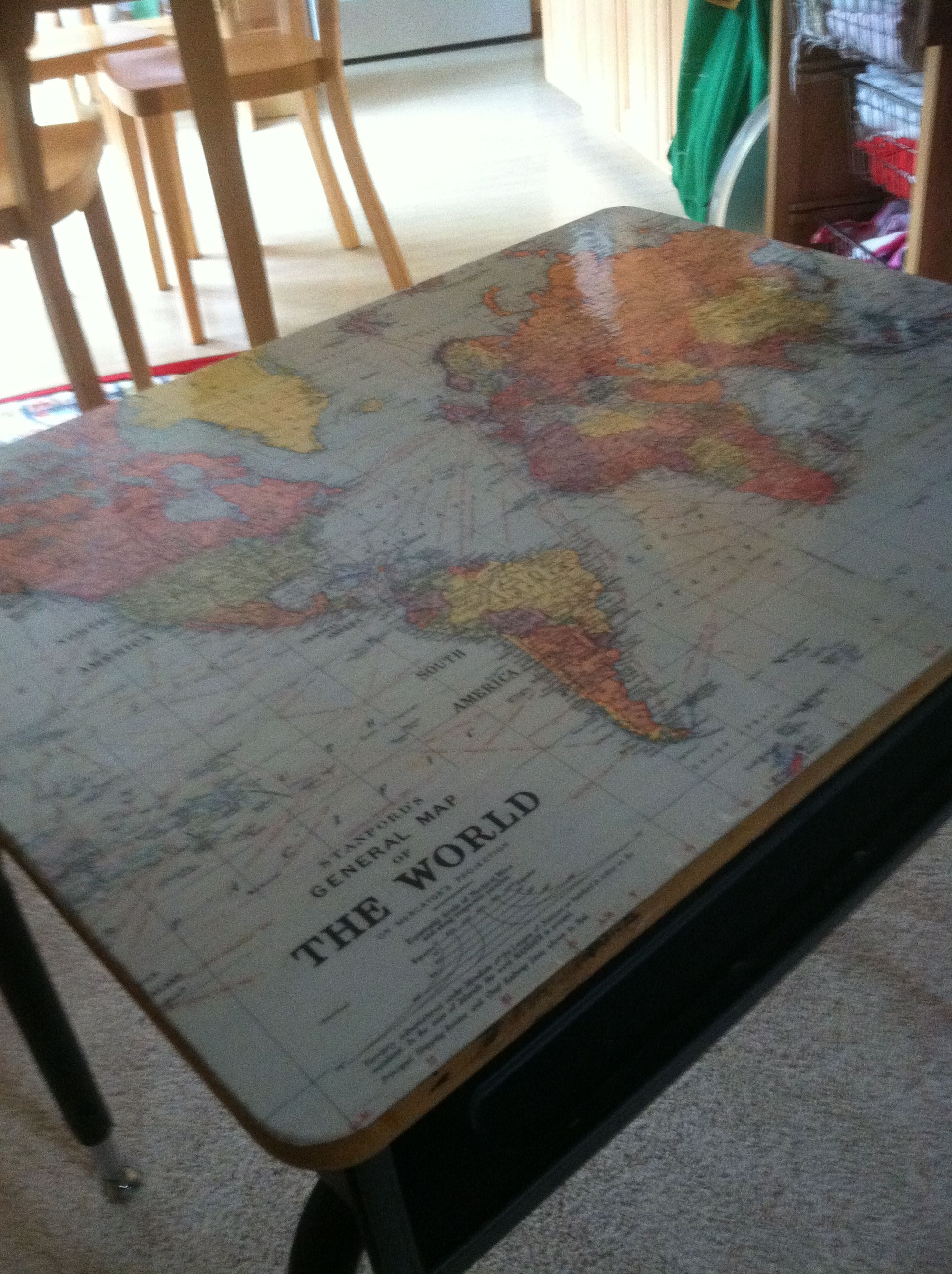 Used world map paper from paper source and glossy mod podge on an used world map paper from paper source and glossy mod podge on an old school desk gumiabroncs Image collections