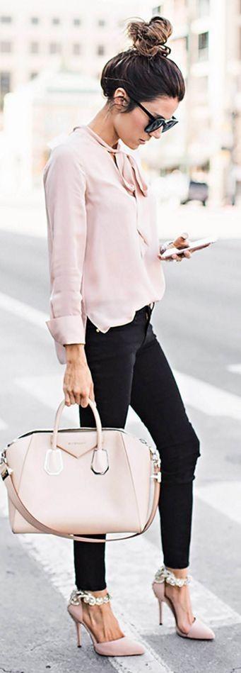 Alice + olivia Freddie Long Sleeve Tie Neck Blouse, FRAME Le Color Skinny Jeans, Karen Walker Super Duper Strength Sunglasses ||  My Wardrobe Staples || Hello Fashion #alice