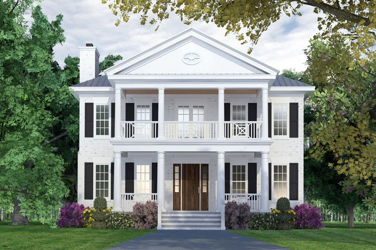 Plan 15255nc Colonial Style House Plan With Main Floor Master Suite Colonial House Plans Porch House Plans Colonial House Exteriors