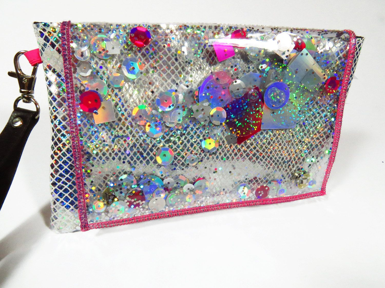 Holographic Clutch Hot Pink Holographic Bag Glitter Clutch Hot Pink ...