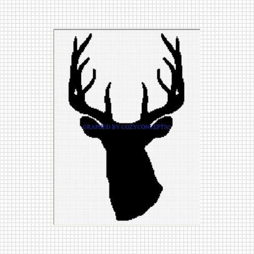 Deer buck head silhouette stag horn crochet afghan pattern