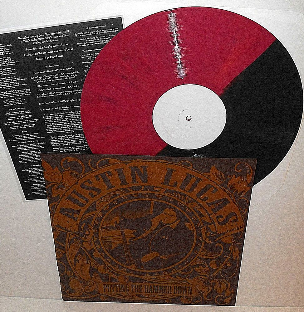 Austin Lucas Putting The Hammer Down Lp 2 Color Red Black Vinyl Record Folkcountryrockgaragerockpunknewwav Vinyl Records Black Vinyl Black And Red