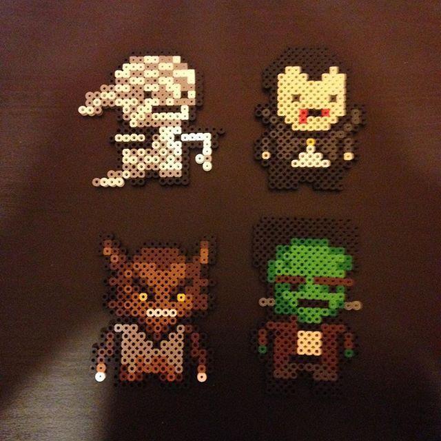 Halloween (Mummy, Dracula, Werewolf and Frankenstein) perler beads ...
