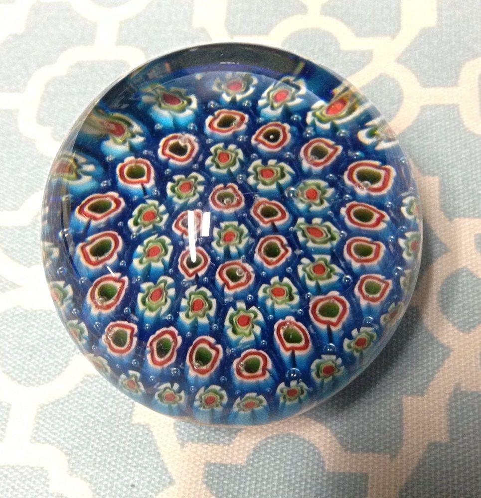 Vintage Blue Murano Millefiori Italian Art Glass