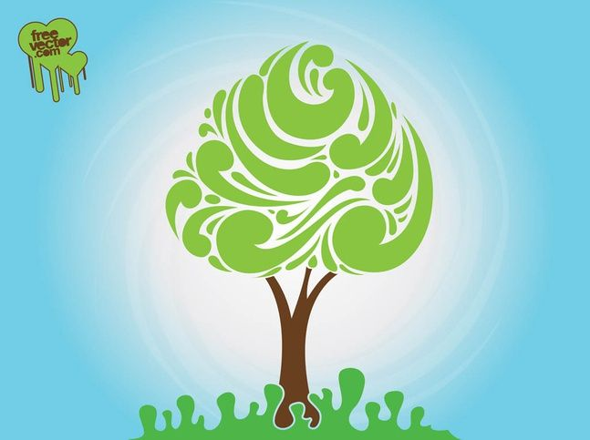 Abstract Tree Silhouette vector free