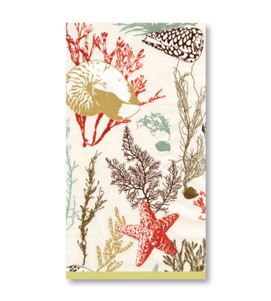 Great Red Shells And Coral Decorative Paper Hand Towels. Bathroom Design