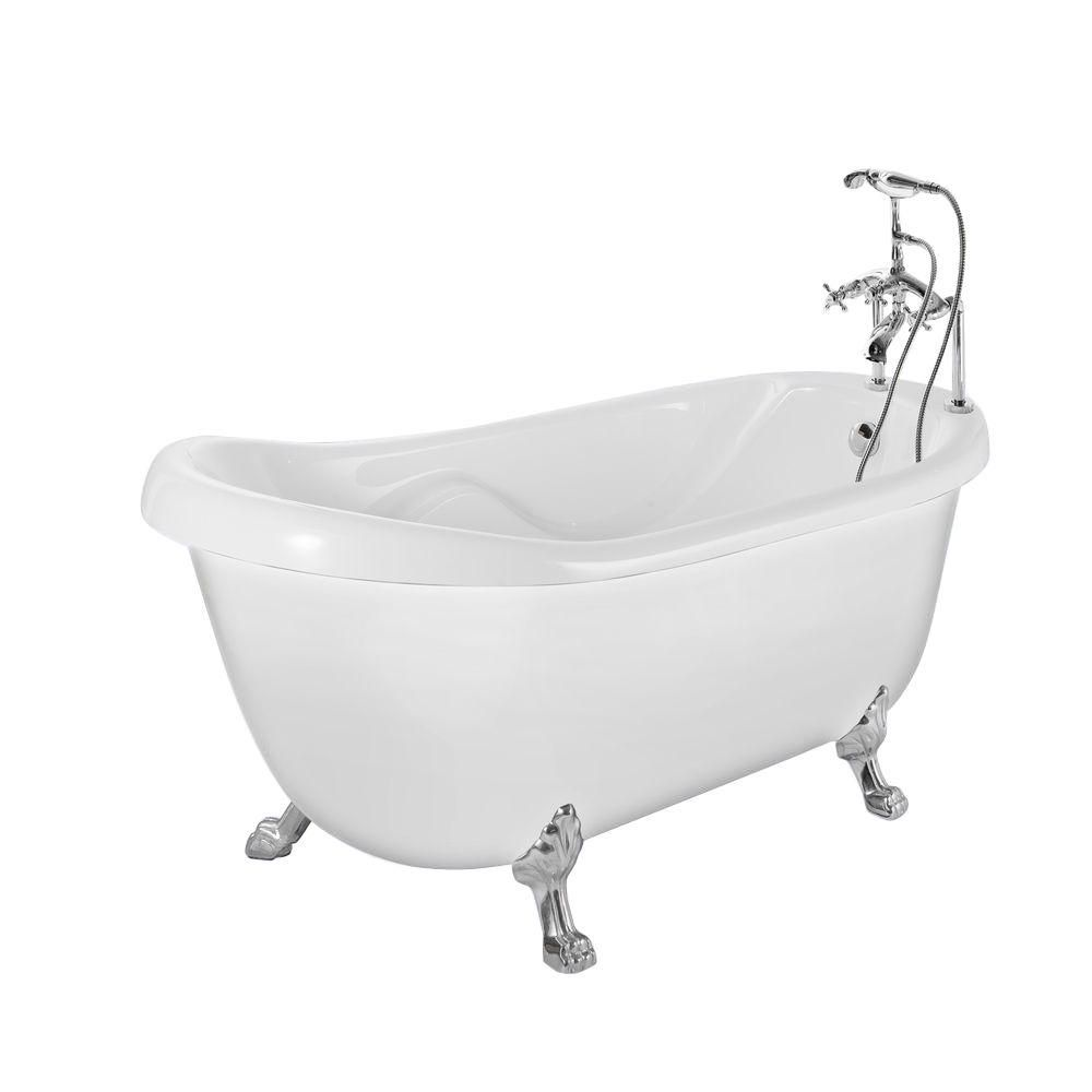 Aston 5 6 Ft Acrylic Slipper Clawfoot Non Whirlpool Bathtub In