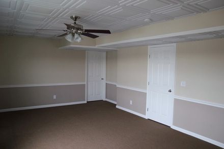 Paneled Drop Ceiling Tiles I Like The Paint Combo Too With Images Ceiling Tiles Basement Ceiling Basement Ceiling Options
