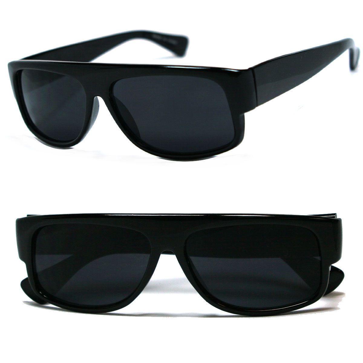 LOCS Slim Gangster Men Shades Designer BLACK Cholo Biker Dark Lens Sunglasses